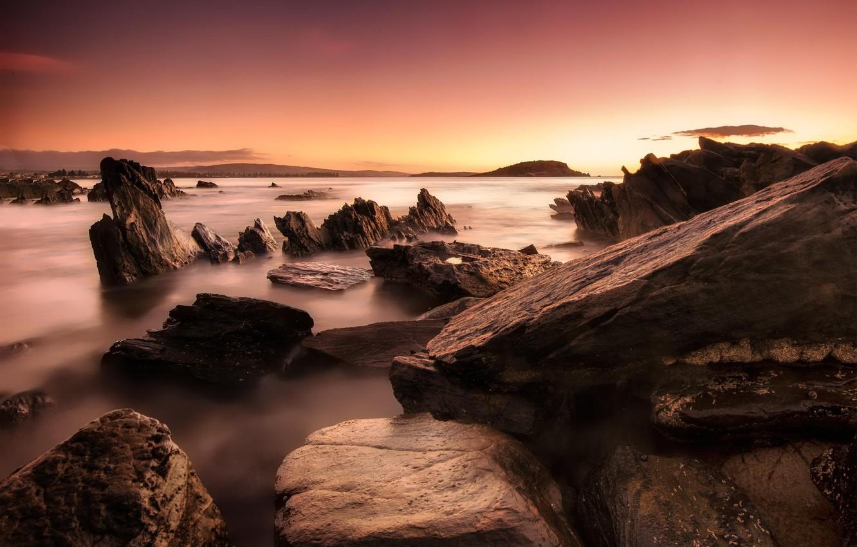 Фото обои пейзаж, камни, океан, рассвет, берег