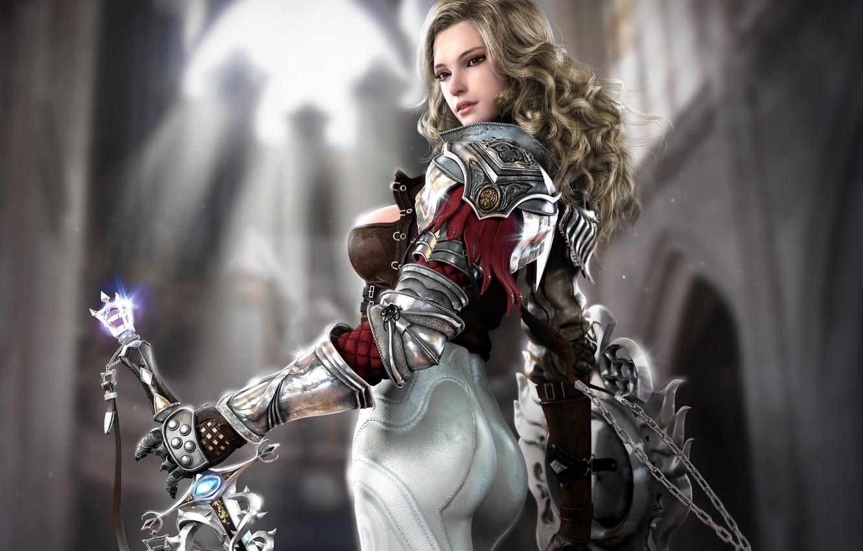 Фото обои девушка, меч, фэнтези, арт, храм, щит