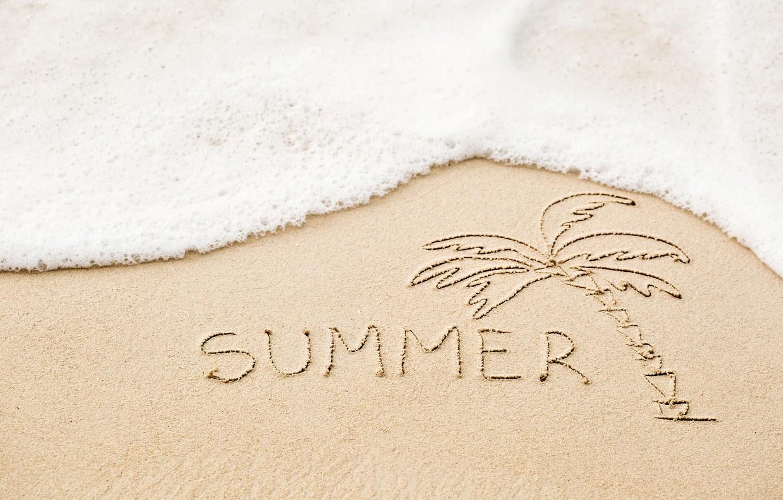 Фото обои песок, море, пляж, лето, надпись, summer, beach, sea, sand, vacation