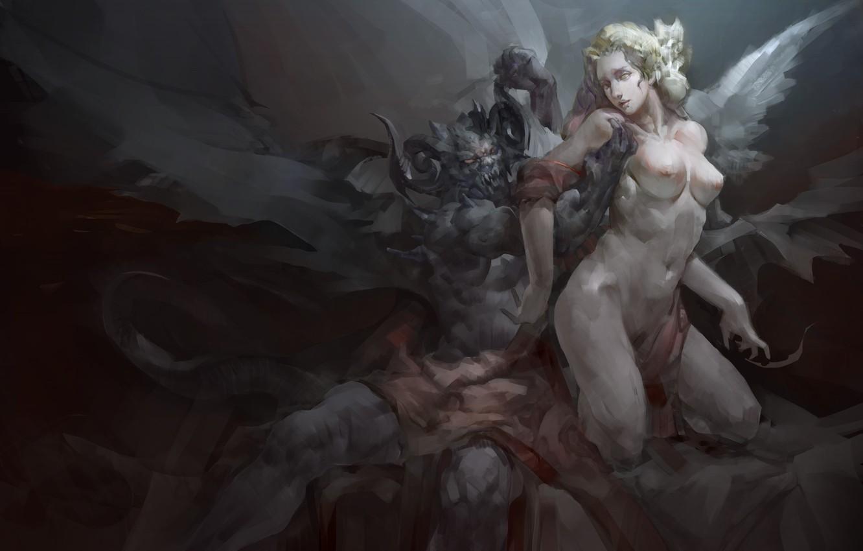Фото обои девушка, крылья, ангел, демон, арт