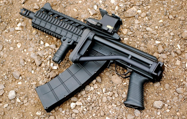 Фото обои ружьё, гравий, самозарядное, Сайга-12