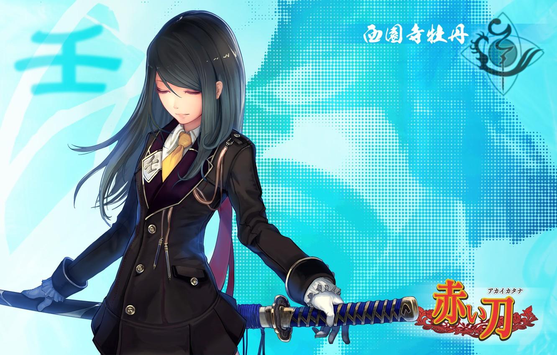 Фото обои девушка, меч, катана, арт, tachikawa mushimaro, akai katana shin, akai katana