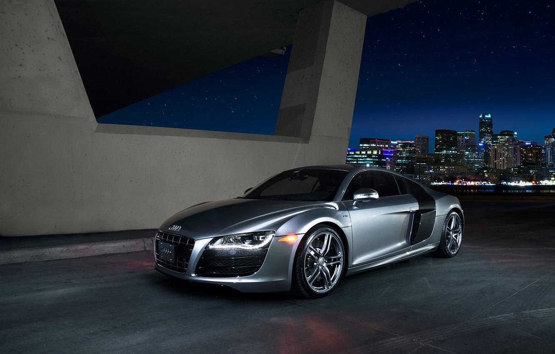Фото обои Audi, Quattro, Grey, V10, Daytona, Lightpaint, Nightlife
