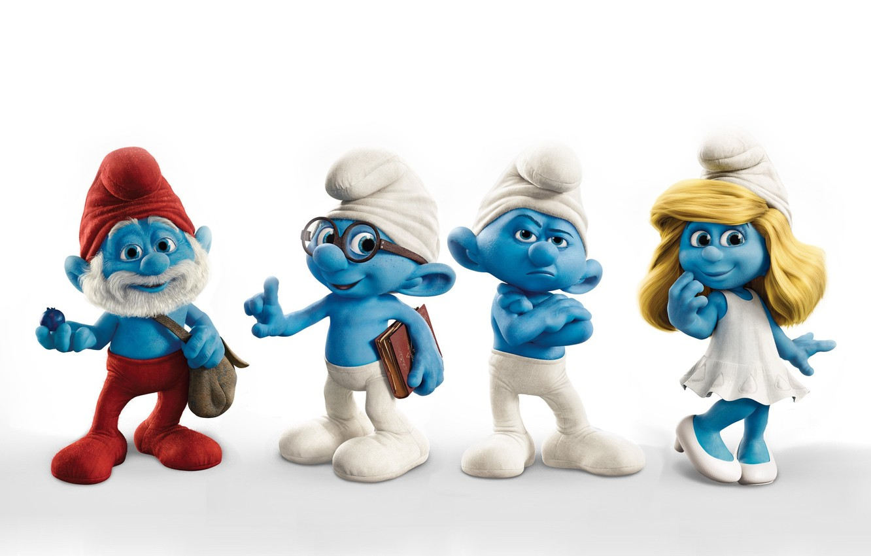 Фото обои человечки, белый фон, синие, папа, мультяшки, гномики, смурфы, смурфики, ворчун, smurfs, знайка, смурфиника, смурфетта
