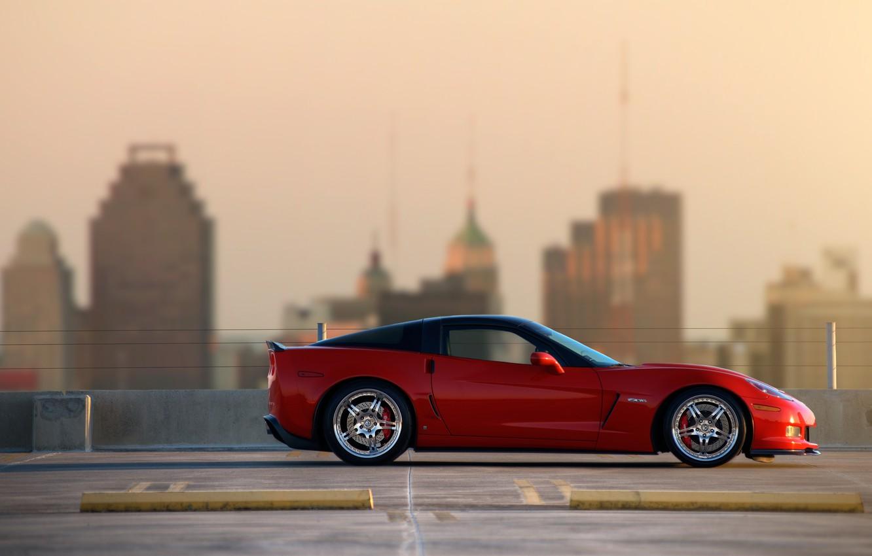 Фото обои red, supercar, z06, chevrolet corvette, шевроле корвет