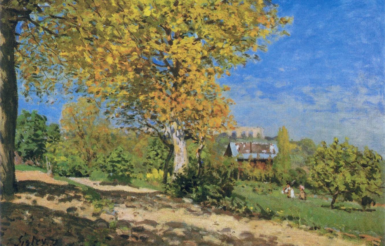 Фото обои лето, небо, облака, пейзаж, дерево, картина, сад, Alfred Sisley