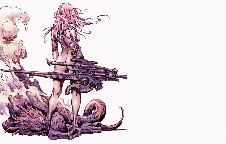 Фото обои тело, спина, Девушка, монстр, хвост, когти, белый фон, comics, розовые волосы, испарение, супер-оружие