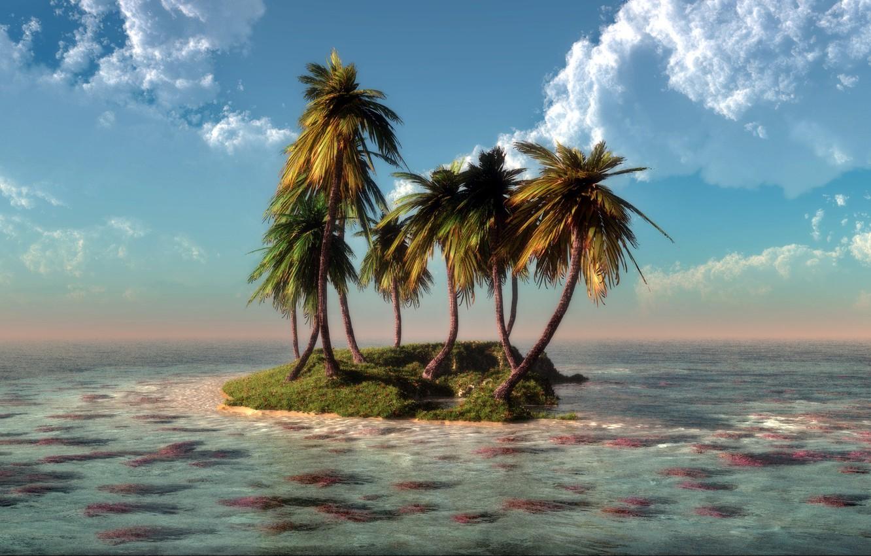 Обои Облака, остров. Природа foto 6