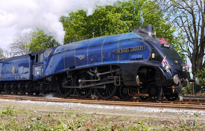 Фото обои steam, Train, Railway, Sir Nigel Gresley, steam locomotive