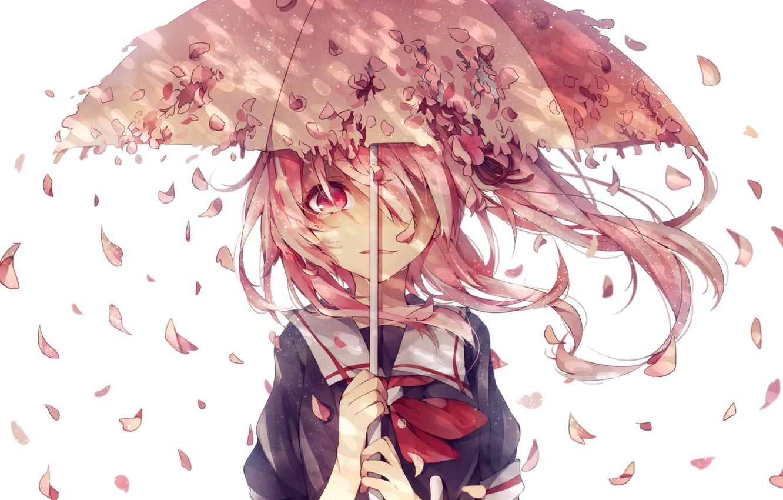 Фото обои девушка, зонт, аниме, лепестки, сакура, слезы, арт, форма, школьница, kantai collection, su moffu, harusame destroyer