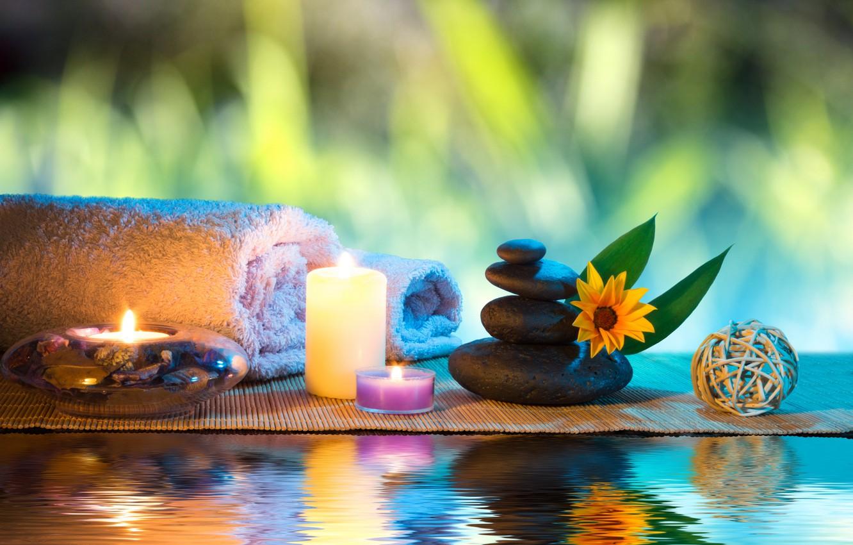 Обои Spa, цветы, spa stones, орхидеи, Вода, Спа камешки. Разное foto 17