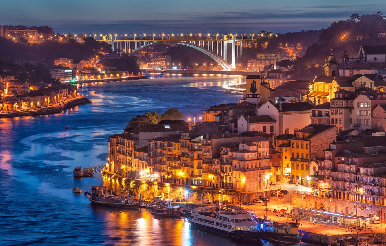 Фото обои city, river, bridge, Nightfall in Porto