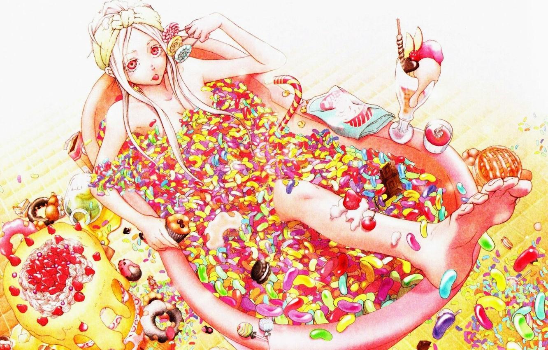 Фото обои конфеты, ванна, сладости, торт, леденцы, мороженное, кексы, сладкоежка