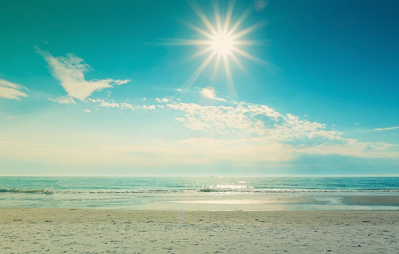 Фото обои песок, море, волны, пляж, лето, небо, вода, солнце, облака, пейзаж, природа, блики, отражение, фон, отдых, …