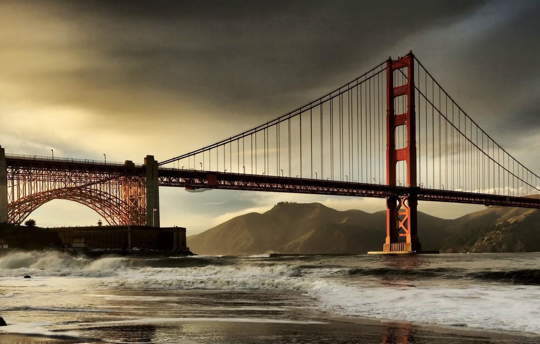 Фото обои Облака, Мост, Залив, Сан-Франциско, Золотые Ворота