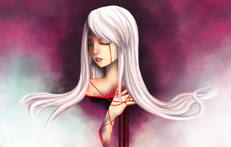 Фото обои девушка, ленты, красное, арт, слёзы, белые волосы