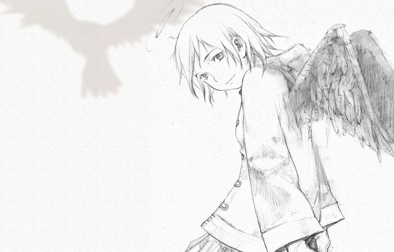 Фото обои девушка, рисунок, крылья, черно-белое, альянс серокрылых