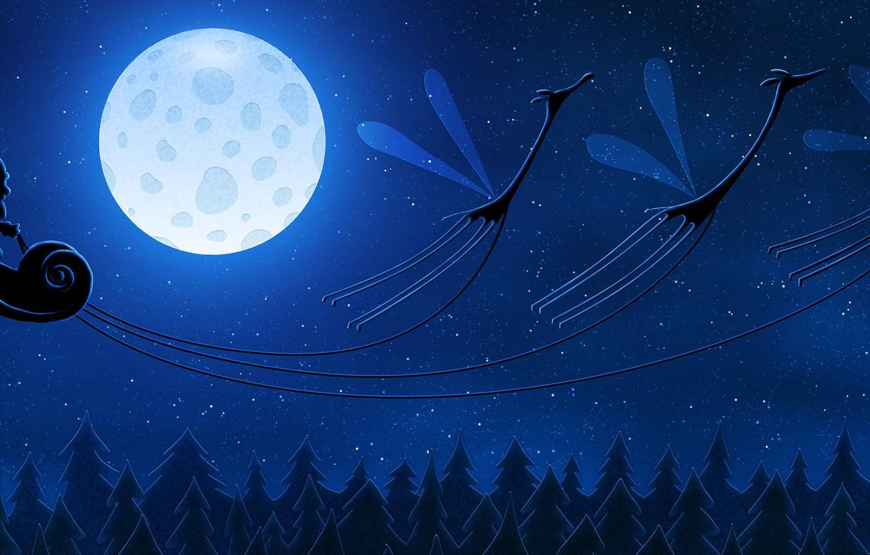 Фото обои луна, новый год, жирафы