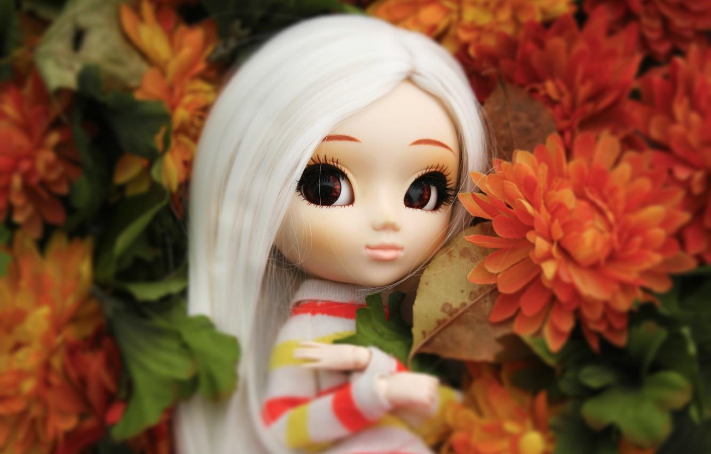 Фото обои цветы, кукла, большие глаза