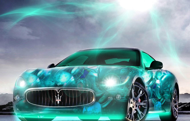 Фото обои солнце, свет, фары, Maserati, неон, яркость, 2880x1800, voiture