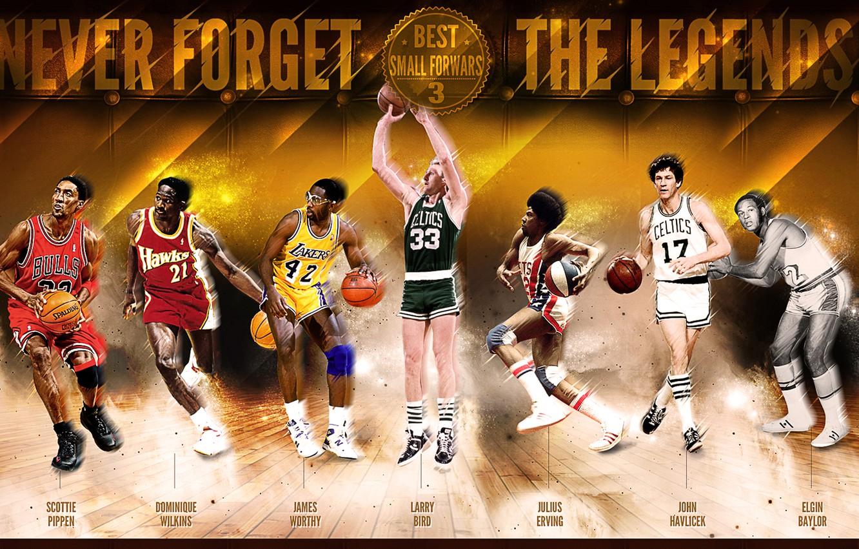 Фото обои Спорт, Баскетбол, NBA, Scottie Pippen, John Havlicek, Larry Bird, Dominique Wilkins, Легенды, Elgin Baylor, Julius …