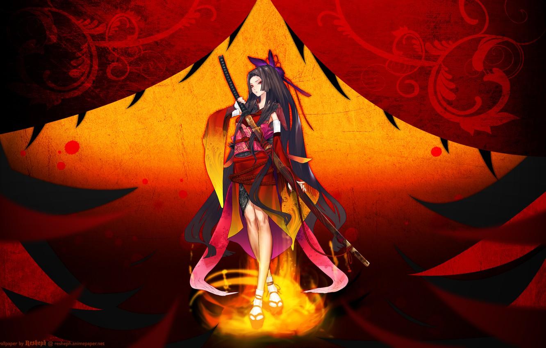 Фото обои девушка, оружие, меч, катана, аниме, арт, redjuice, resheph