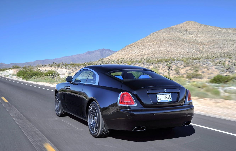 Фото обои дорога, car, Rolls-Royce, автомобиль, вид сзади, road, speed, Wraith, Black Badge