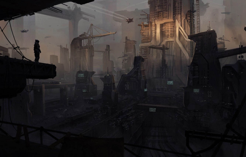 Фото обои ночь, город, будущее, фантастика, мрак, здания, мегаполис