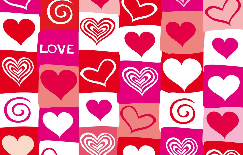 Фото обои vector, сердечки, red, love, pink, hearts, valentine