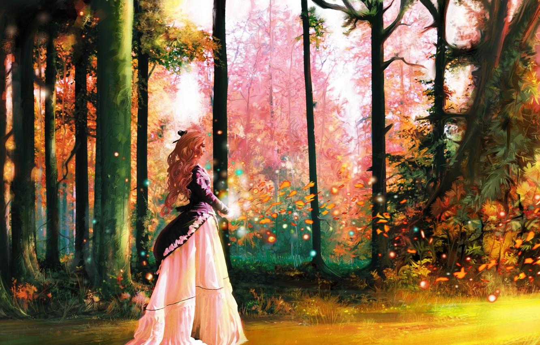 Фото обои лес, листья, девушка, деревья, магия, платье, арт