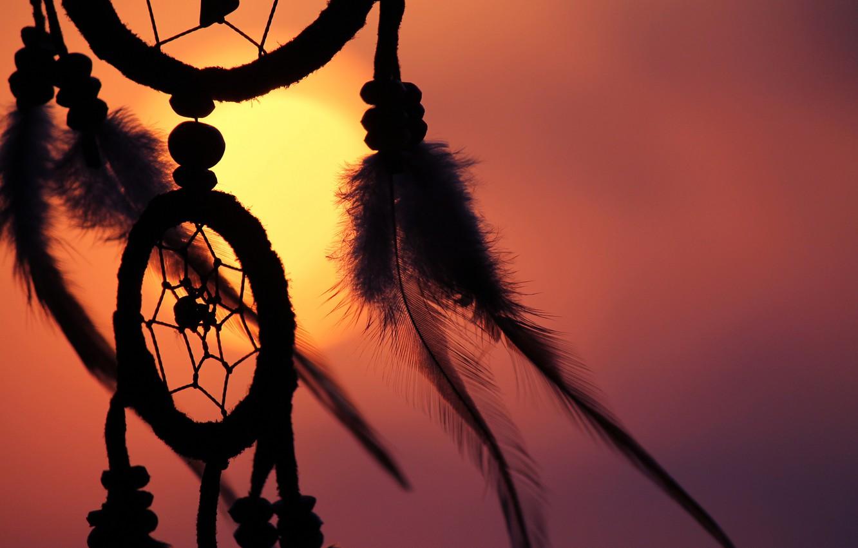 Фото обои солнце, перья, талисман, амулет, Dreamcatcher, ловец снов