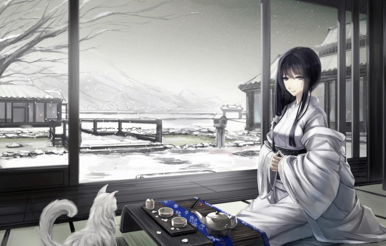 Фото обои зима, кошка, девушка, снег, горы, дом, арт, чаепитие, кимоно, сидя, kikivi