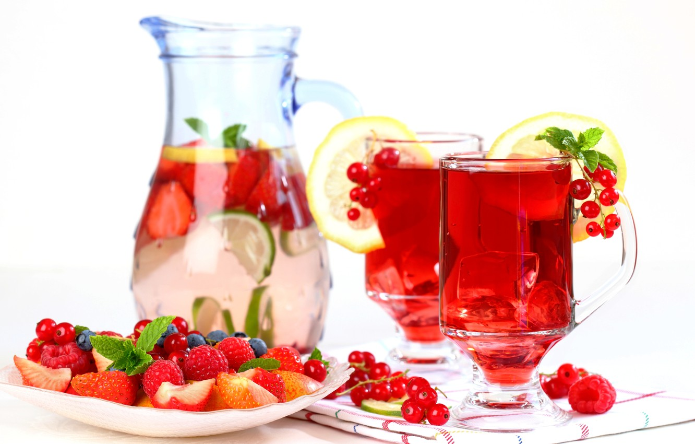 Фото обои лед, ягоды, малина, лимон, черника, клубника, лайм, напиток, фрукты, смородина