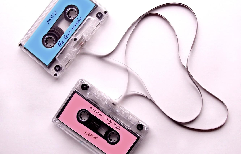 Фото обои ленты, настроение, сердце, кассеты