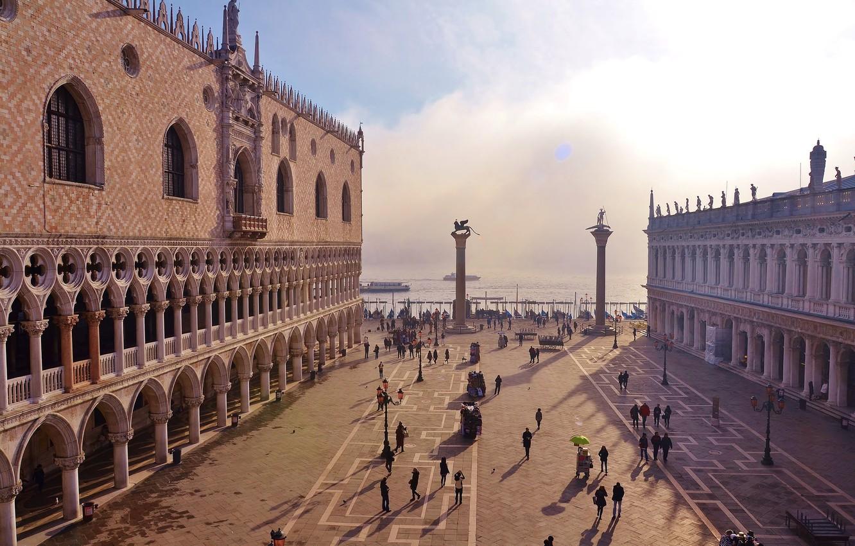 Обои дворец дожей, венеция, пьяцетта, Колонна Святого Марка. Города foto 7