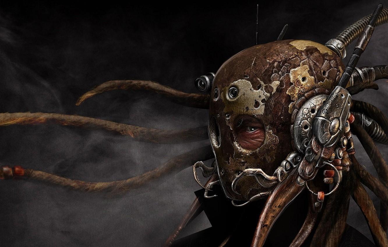 Фото обои взгляд, шлем, Маска, Steampunk, Стимпанк