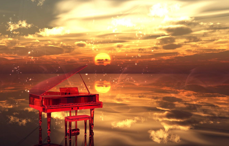 Фото обои вода, облака, Закат, искры, музыкальный инструмент