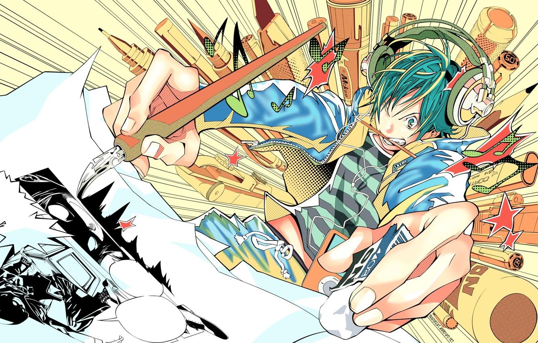 Фото обои ipod, наушники, ручка, художник, карандаш, кисть, рисует, bakuman