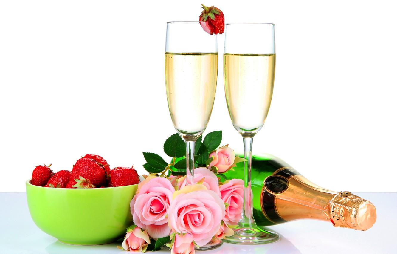 Открытки цветы и шампанское, любимой