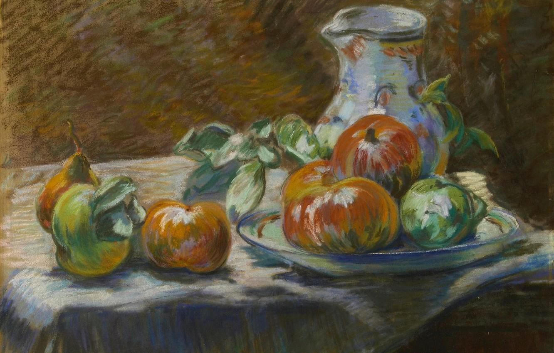 Фото обои яблоки, картина, груша, кувшин, Натюрморт с фруктами, Арман Гийомен