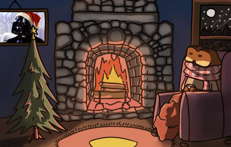 Фото обои ночь, огонь, пламя, ковер, рисунок, елка, новый год, рождество, картина, шарф, Star Wars, Звездные войны, …