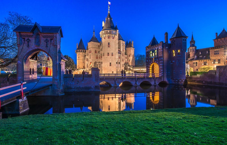 Фото обои ночь, мост, город, река, фото, замок, Нидерланды, De Haar