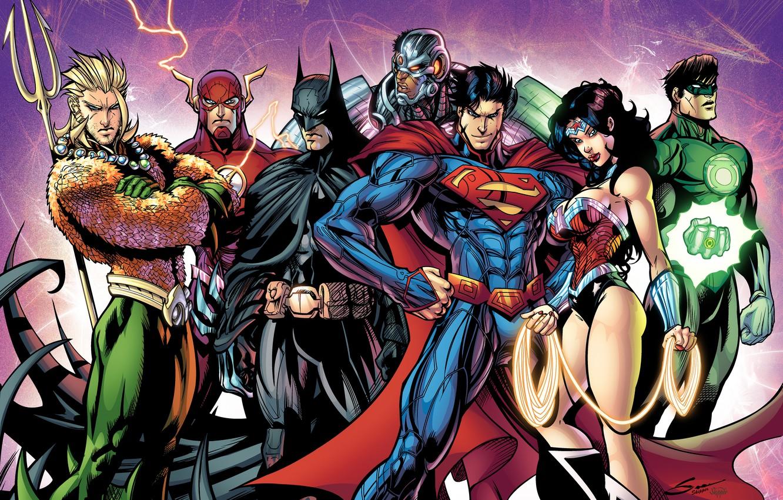 Фото обои batman, superman, dark knight, green lantern, wonder woman, cyborg, the flash, Justice League, bruce wayne, …