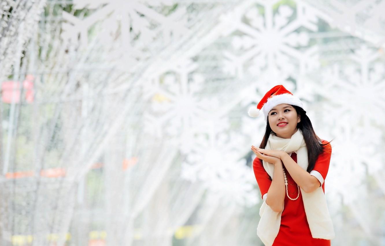 Обои подарки, азиатка. Праздники foto 16