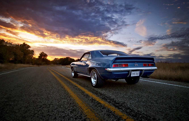 Фото обои дорога, закат, Camaro