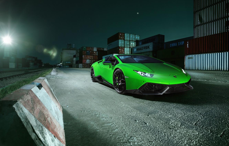 Фото обои машина, свет, Lamborghini, капот, фонарь, зеленая, Spyder, передок, контейнеры, Novitec, Torado, Huracan