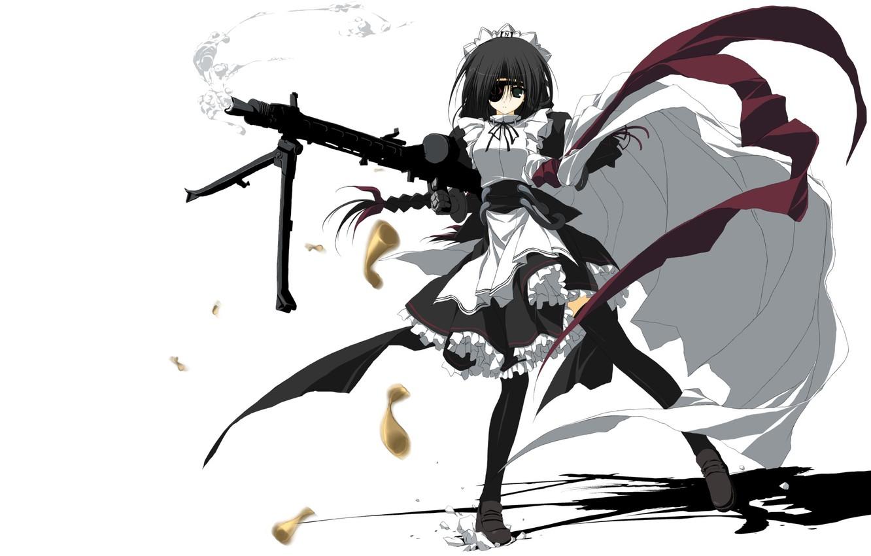 Фото обои девушка, аниме, арт, горничная, пулемёт, повязка на глазу