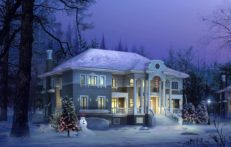 Фото обои зима, дом, елка