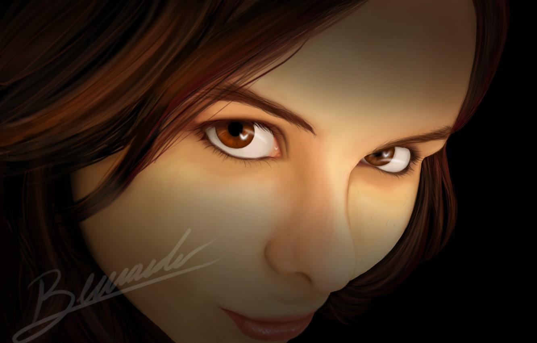 Фото обои взгляд, девушка, улыбка, art, карие глаза, axt234