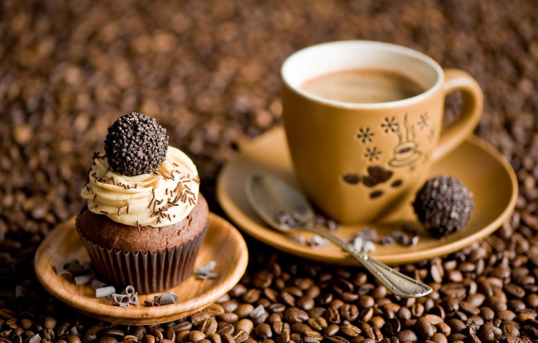 Фото обои кофе, конфеты, зёрна кофе, кексик
